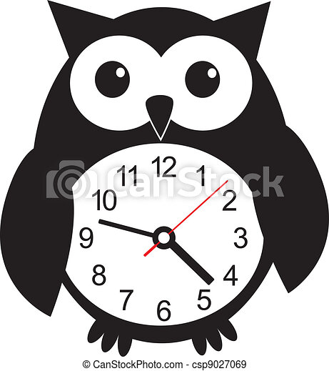 Cute wall clock owl sticker. Vector illustration - csp9027069