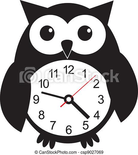 Cute wall clock owl sticker. Vector illustration - csp9027069
