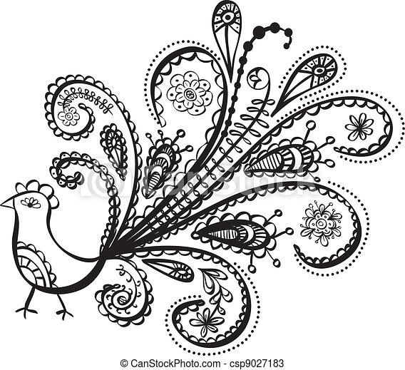 peacock bird line art - csp9027183