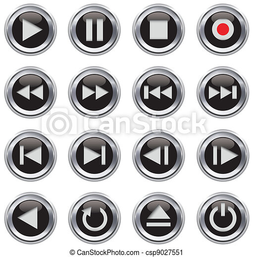 Multimedia control icon/button set - csp9027551