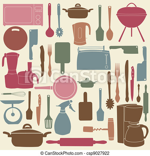 vector illustration of kitchen tools for cooking - csp9027922