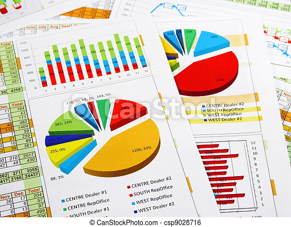 Sales Report in Graphs and Diagrams - csp9028716