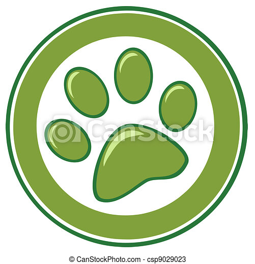 Green Paw Print - csp9029023