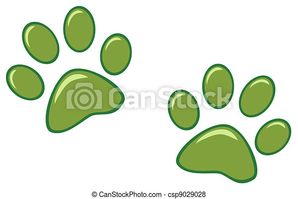 Green Paw Prints - csp9029028