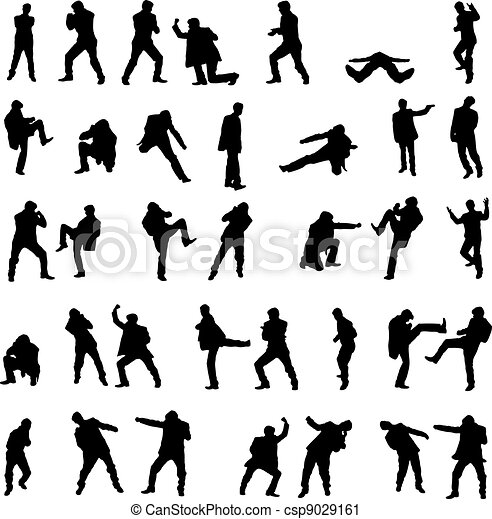 Silhouettes of the fighting men - vector set. - csp9029161