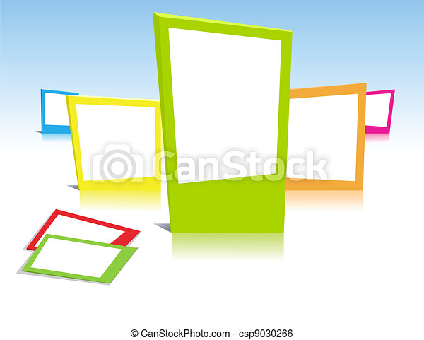 Colorful photo frames in vector art - csp9030266
