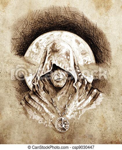Sketch of tattoo art, magician, halloween concept - csp9030447