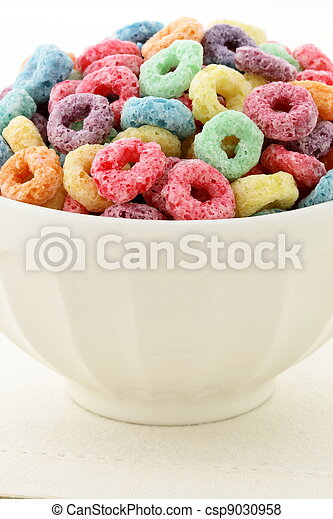 kids delicious and nutritious cereal loops or fruit cereal - csp9030958