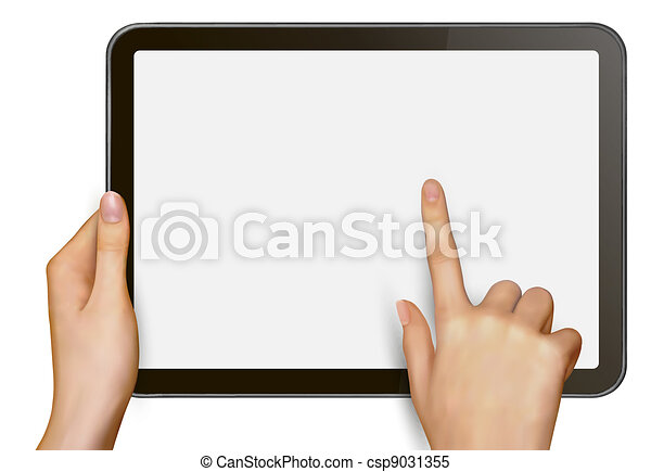 Finger touching digital tablet - csp9031355