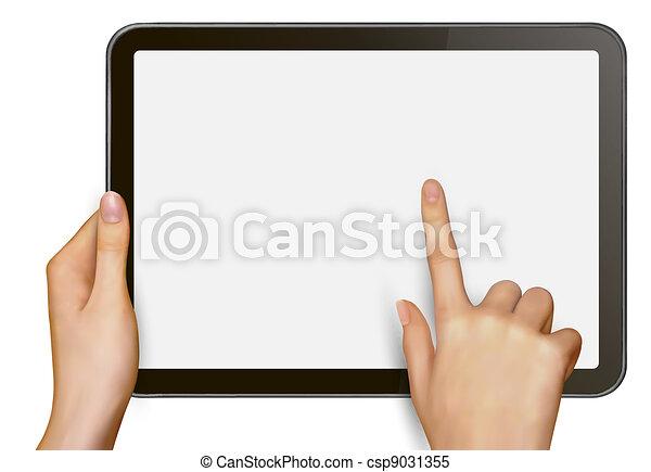 Finger touching digital tablet - csp9031355
