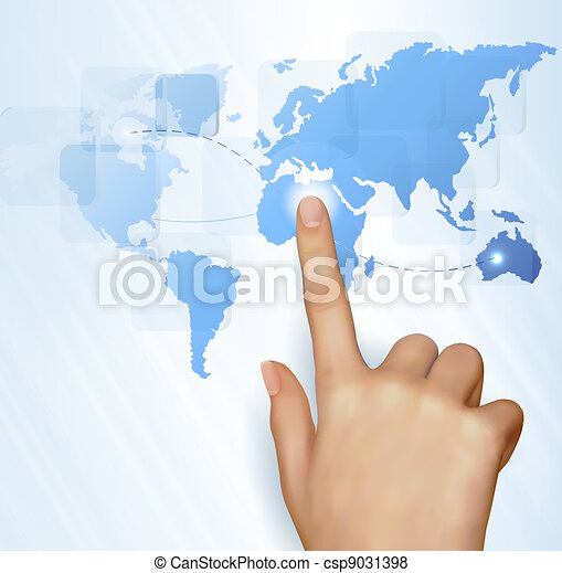 Finger touching world map  - csp9031398