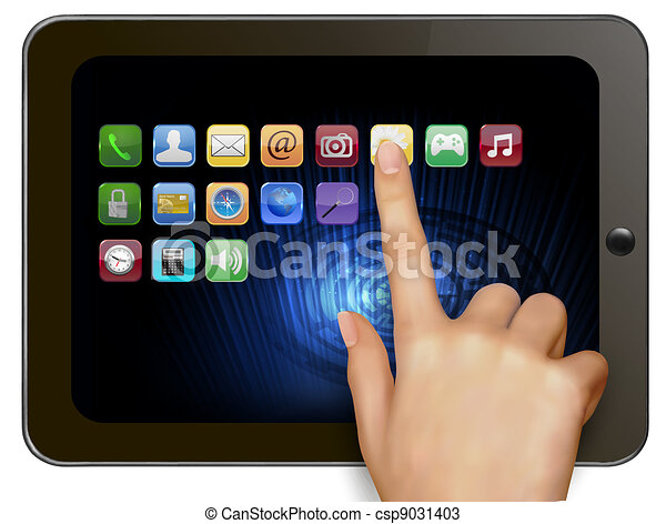 Hand holding digital tablet compute - csp9031403