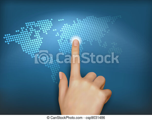 Finger touching world map - csp9031486