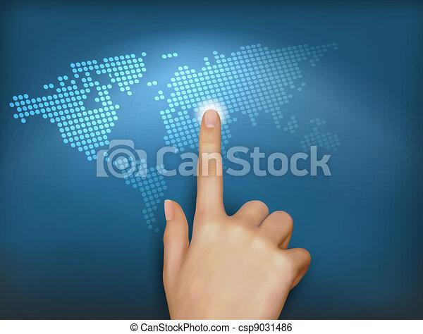 Finger touching world map - csp9031486