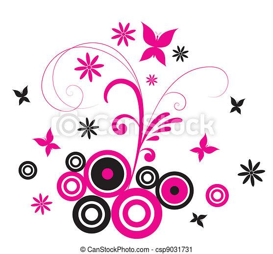 Pink Butterfly Flourish - csp9031731