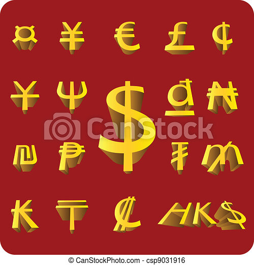 Vector 3D Currency symbol - csp9031916