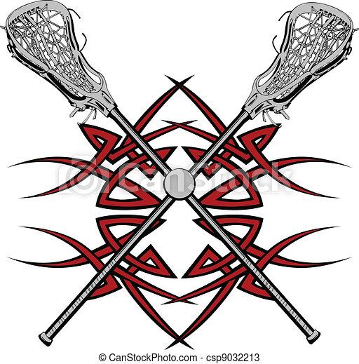 Lacrosse Sticks Graphic Vector  - csp9032213