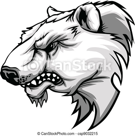 Polar Bear Mascot Head Vector Carto - csp9032215
