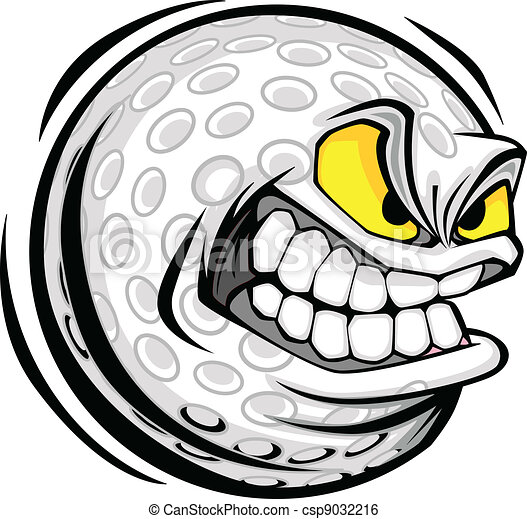 Golf Ball Face Cartoon Vector Image - csp9032216
