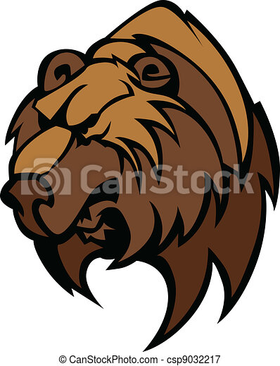 Bear Grizzly Mascot Head Vector - csp9032217