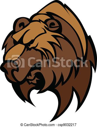 Bear Grizzly Mascot Head Vector - csp9032217