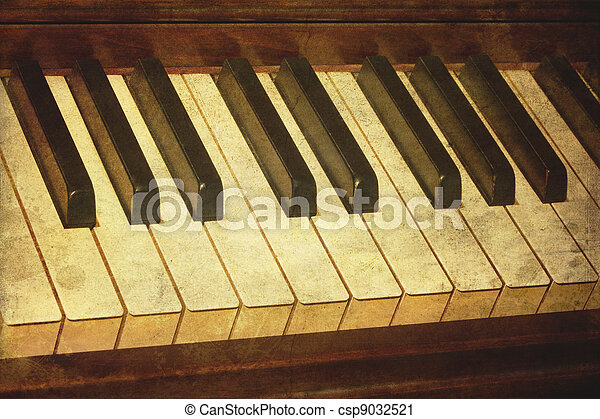 Old piano grunge music stained - csp9032521