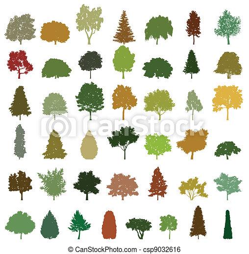 Set of retro silhouette trees. Vector - csp9032616