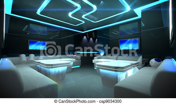 Blue cyber interior room - csp9034300