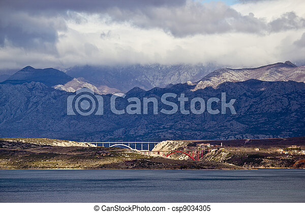 Bridges of Maslenica under Velebit Mountain - csp9034305