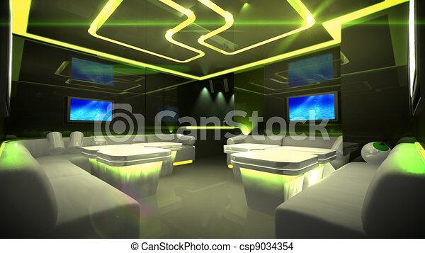 Yellow cyber interior room - csp9034354
