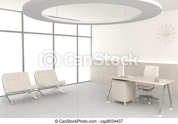 White modern office - csp9034437