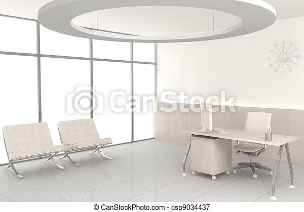 White modern office - csp9034437