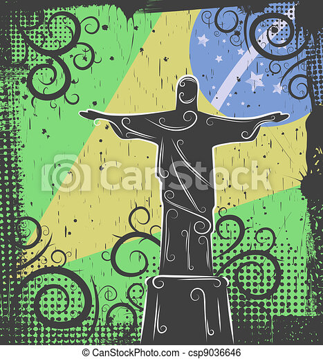 Statue of Christ the Redeemer background - csp9036646