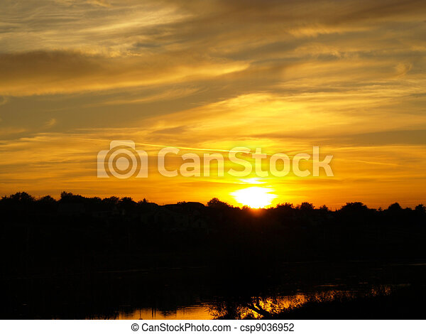 Sunset Sky With Lighted Clouds  - csp9036952