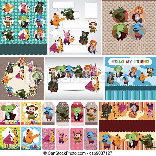 animal play music card - csp9037127