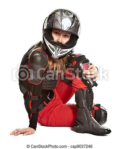 Girl - motorcycle rider - csp9037246
