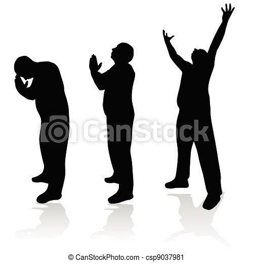 man prayer silhouette - csp9037981