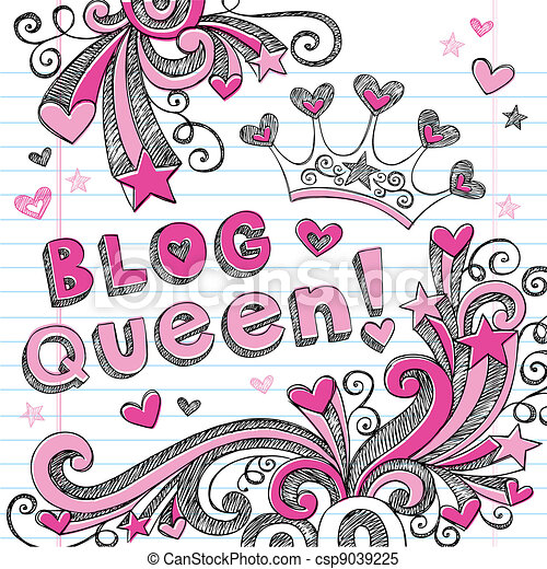 Blog Queen Tiara Sketchy Doodles - csp9039225