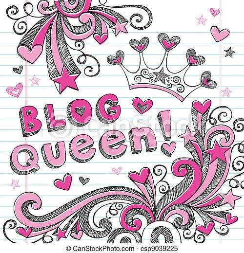 Blog Queen Tiara Sketchy Doodles - csp9039225