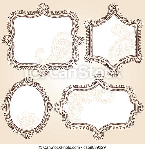 Frames Henna Doodles Vector Set - csp9039229