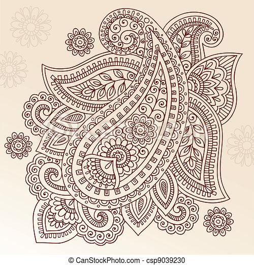 Henna Mehndi Paisley Vector Design - csp9039230