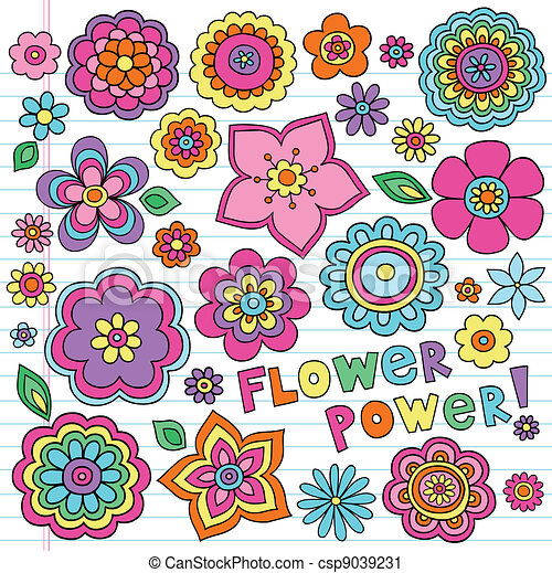 Flower Power Groovy Doodles Set - csp9039231