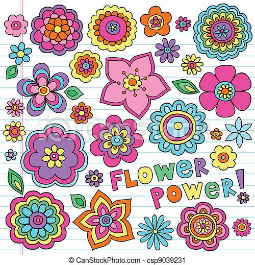 Flower Power Groovy Doodles Set - csp9039231
