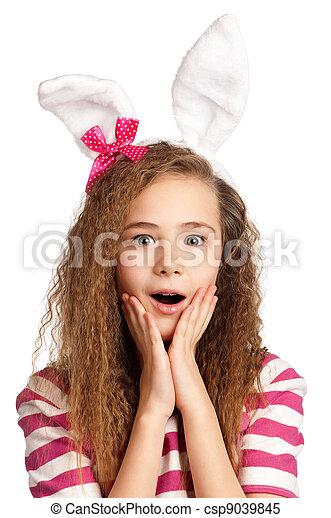 Girl with bunny ears - csp9039845