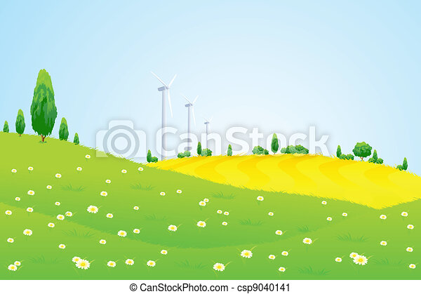 Green Landscape with Wind Power Station Trees and Flowers - csp9040141