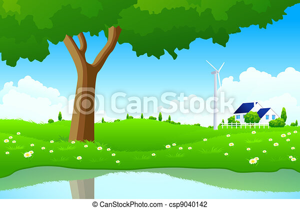 Green Landscape with Tree Wind Power Station and House - csp9040142