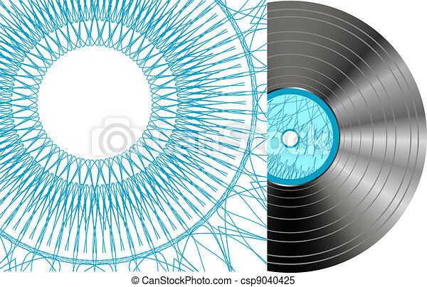 Black vinyl disc with abstract cover - csp9040425