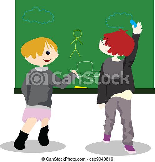 cartoon children activity - draw on chalk board - csp9040819