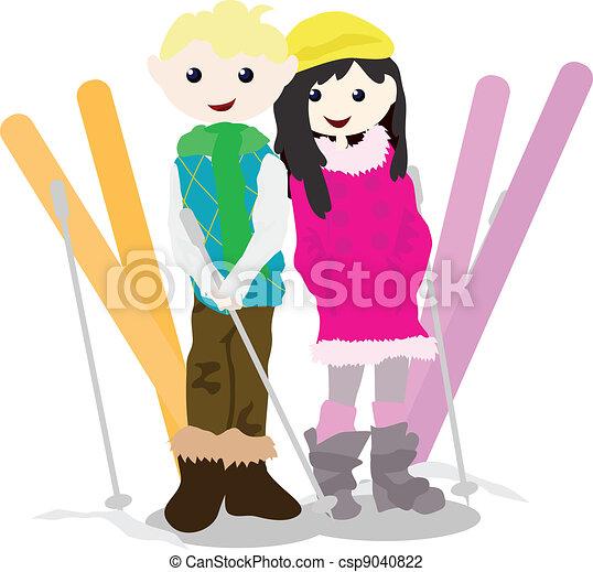 cartoon children activity - skiing - csp9040822
