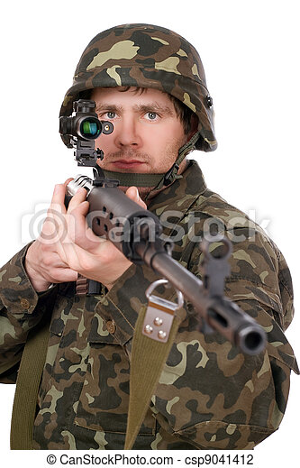 Soldier keeping a rifle - csp9041412